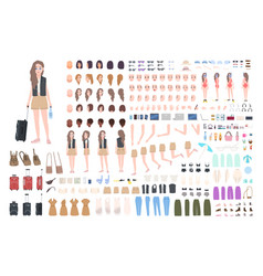 traveler girl constructor or diy kit bundle of vector image