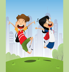 two happy cartoon pupils boy and girl vector image