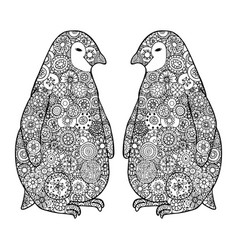 Two loving penguin zen tangle zentangle vector