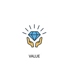value concept 2 colored line icon simple yellow vector image