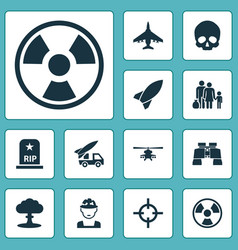 Warfare icons set collection of rip missile vector