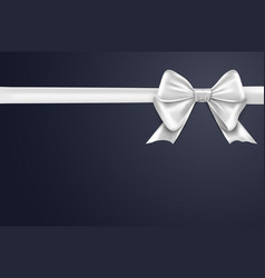 white bow ribbon on background bow vector image