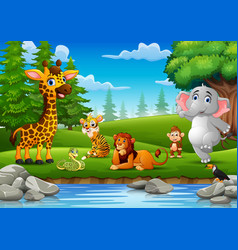 Wild animals are enjoying nature by the river vector