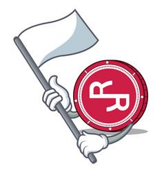 With flag rchain coin mascot cartoon vector