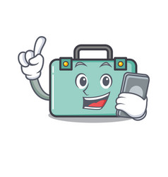 With phone suitcase character cartoon style vector