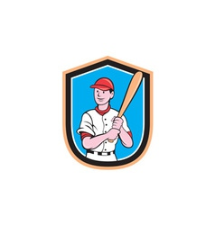 American Baseball Player Bat Shield Cartoon vector image vector image