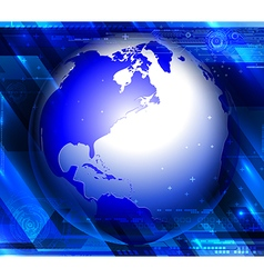 Blue modern background with globe vector image