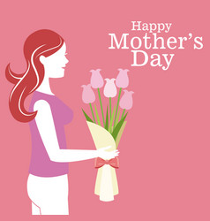 happy mothers day - mother bouquet flowers vector image