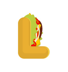 letter l tacos mexican fast food font taco vector image vector image