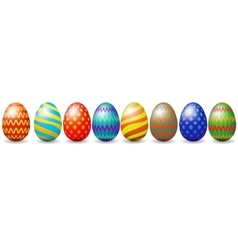 Row of easter eggs vector image