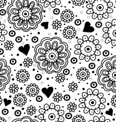 Beautiful floral seamless pattern with hearts vector image
