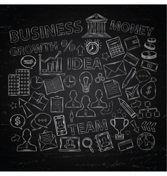 Doodle business icons on chalk blackboard vector image vector image