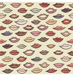 Seamless pattern with colored lips vector image