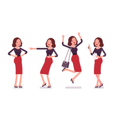 set of young secretary showing positive emotions vector image vector image