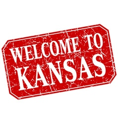 welcome to Kansas red square grunge stamp vector image