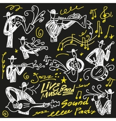 abstract musicians - doodles set vector image