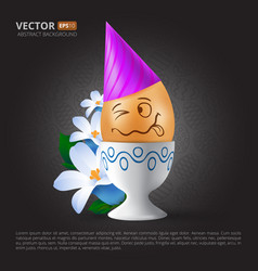 funny cartoon emotional easter egg with painted vector image vector image