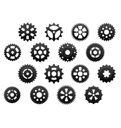 Gears and pinions silhouettes set vector image