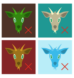 set of flat goat animal farm icon vector image vector image