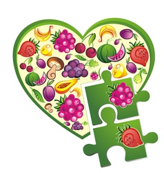 Background- fruit heart vector image