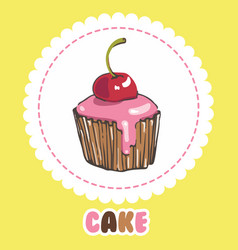 Cupcake with glaze and cherry cake icon vector