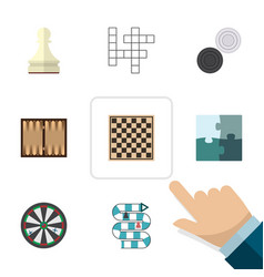 flat icon games set of chequer jigsaw dice and vector image