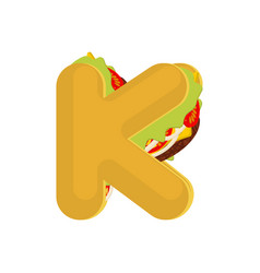 letter k tacos mexican fast food font taco vector image vector image