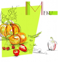 menu with fruit and vegetables vector image vector image
