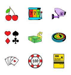 poker icons set cartoon style vector image