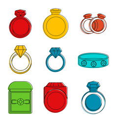 rings icon set color outline style vector image
