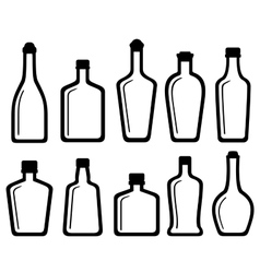 set white glass alcohol bottles vector image vector image
