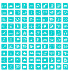 100 programmer icons set grunge blue vector image