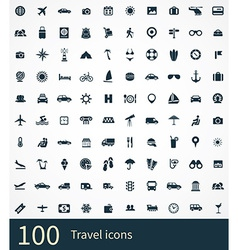 100 travel icons set vector
