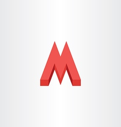 3d red letter m icon logo vector image