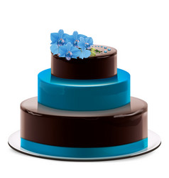 A multi layered chocolate cake with blue orchid vector