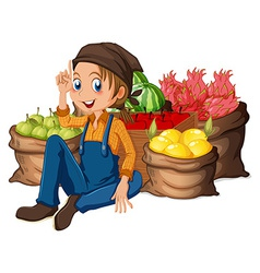 A young farmer near his harvested fruits vector