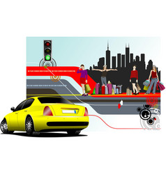 Abstract shopping background with car image vector