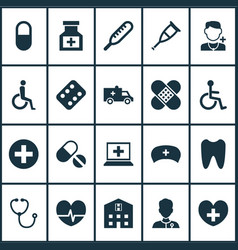 Antibiotic icons set collection of healer vector