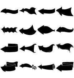 Arrows big set silhouette vector image