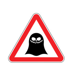 Attention ghost dangers red road sign spook vector