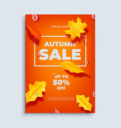autumn sale banner background with fall vector image