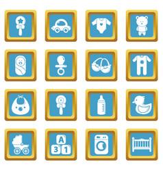 baby born icons set sapphirine square vector image