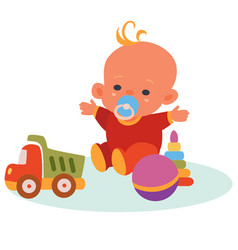 Bain red overalls and a blue pacifier in his vector