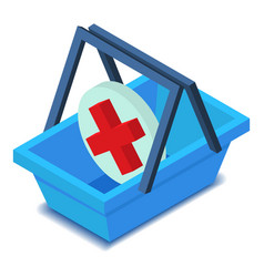 basket with medicine sign icon isometric style vector image