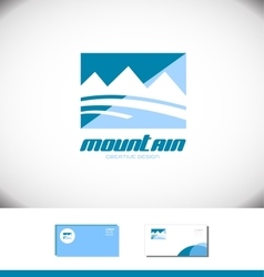Blue mountain rectangle logo tourism tourist vector