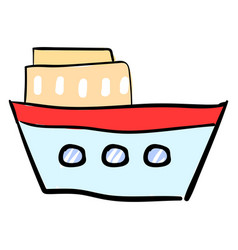 blue ship on white background vector image