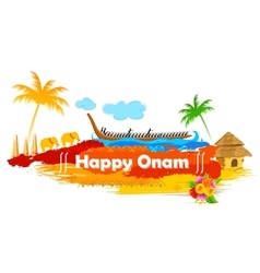 Boat Race of Kerla on Onam vector image