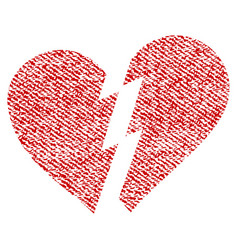 broken heart fabric textured icon vector image