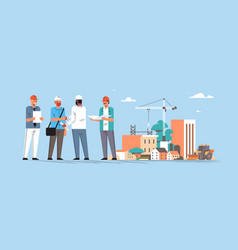 builders team shaking hands during meeting mix vector image