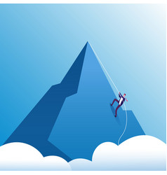 Businessman climbing mountain challenge vector